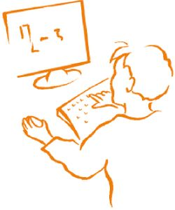 Jongen voor computer