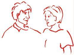 Aardig gesprek jongen-meisje en man