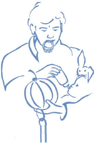 Vader geeft fles