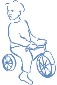 Kwaad jongetje op driewieler